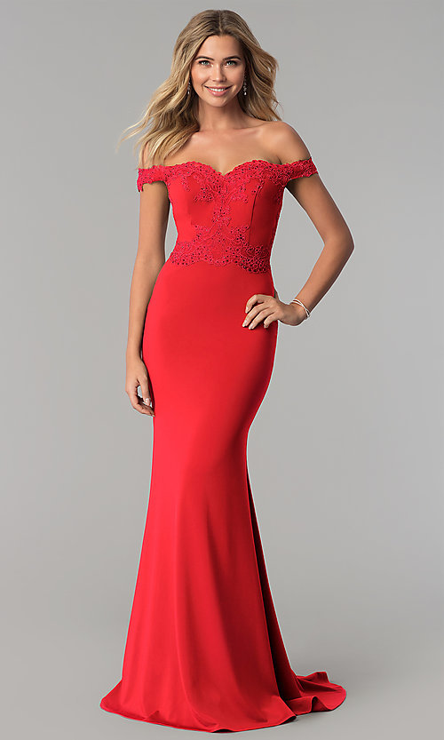 Image of long off-the-shoulder embroidered-lace prom dress. Style: PO-8246 Detail Image 3
