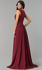 Image of embroidered-bodice long prom dress in chiffon. Style: PO-8254 Back Image