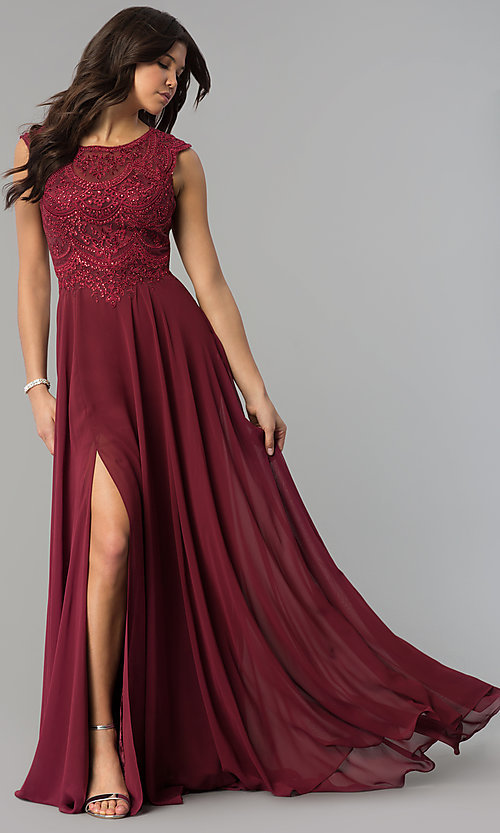 Image of embroidered-bodice long prom dress in chiffon. Style: PO-8254 Front Image
