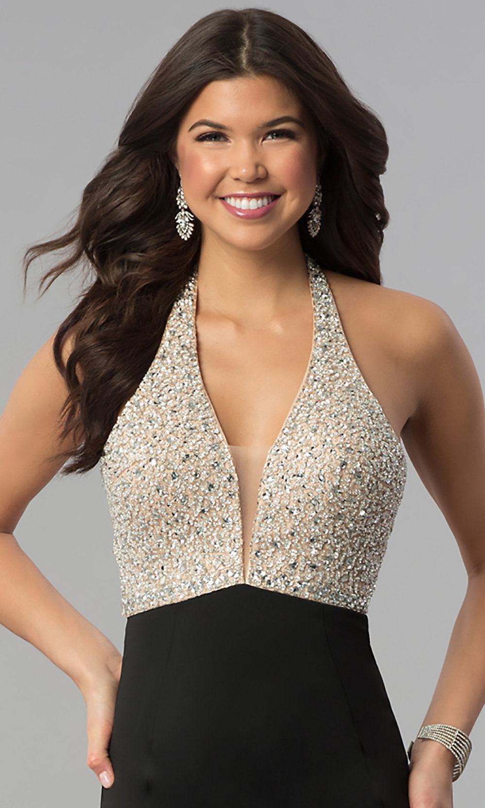 b00bedf8de468 Image of beaded-bodice long halter formal dress with v-neck. Style: Tap to  expand