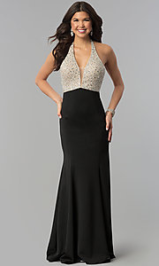 Image of beaded-bodice long halter formal dress with v-neck. Style: PO-8276 Front Image