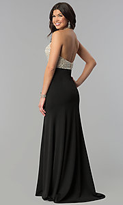 Image of beaded-bodice long halter formal dress with v-neck. Style: PO-8276 Back Image