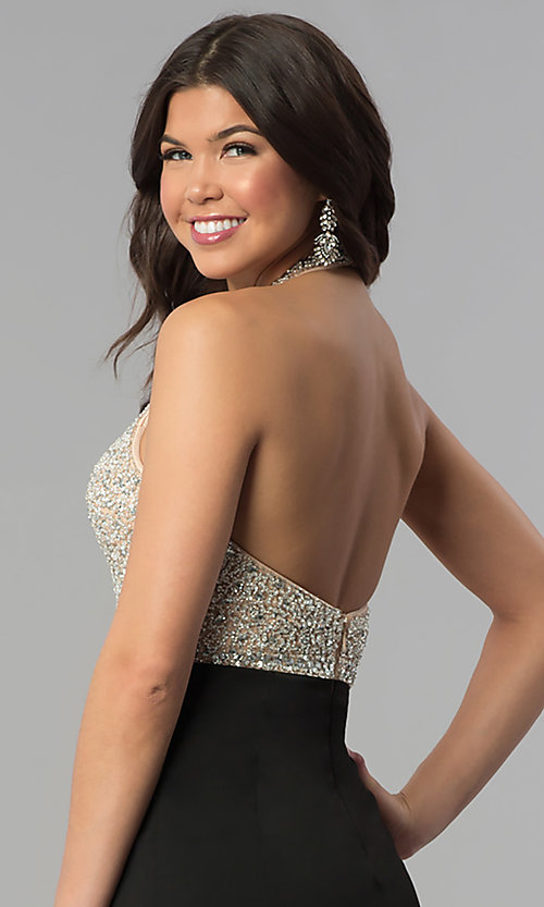 Image of beaded-bodice long halter formal dress with v-neck. Style: PO-8276 Detail Image 2