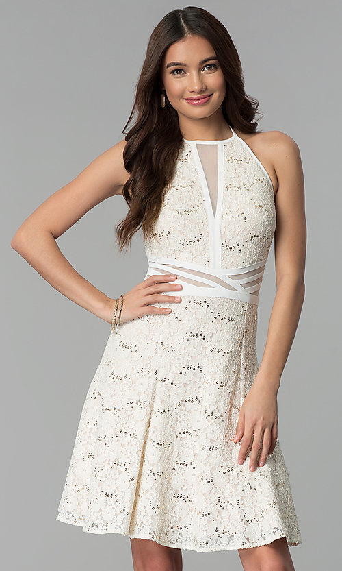Image of graduation party short ivory glitter-lace dress. Style: MO-12398 Front Image