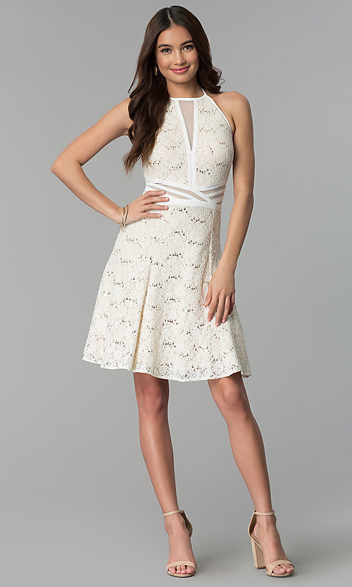 Image of graduation party short ivory glitter-lace dress. Style: MO-12398 Detail Image 3