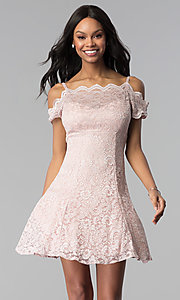 Image of champagne lace cold-shoulder short party dress. Style: MO-12395-C Front Image
