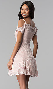 Image of champagne lace cold-shoulder short party dress. Style: MO-12395-C Back Image