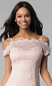 Image of champagne lace cold-shoulder short party dress. Style: MO-12395-C Detail Image 1