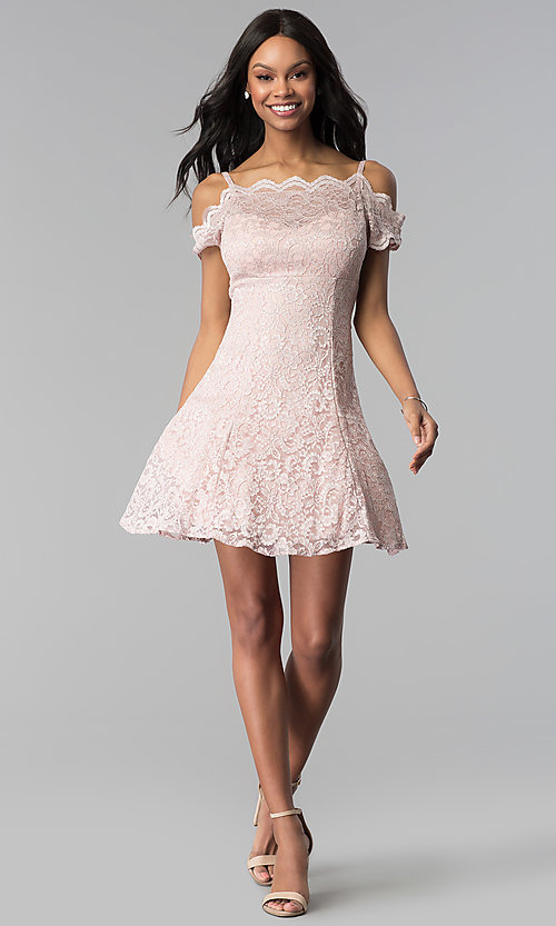 Image of champagne lace cold-shoulder short party dress. Style: MO-12395-C Detail Image 3