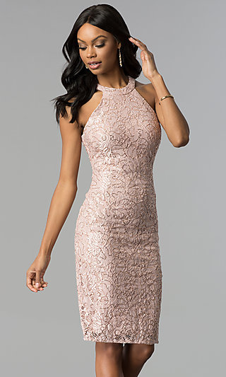 Rose Gold Lace Knee-Length Graduation Party Dress