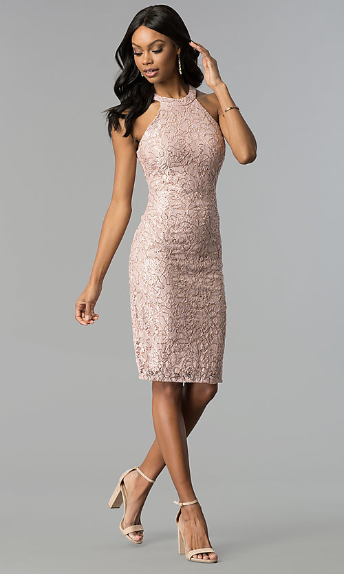 0ddb98dae298 Image of rose gold lace knee-length graduation party dress. Style  MO-