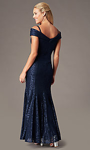 Image of long cold-shoulder mermaid glitter-lace formal dress. Style: MO-2047 Back Image