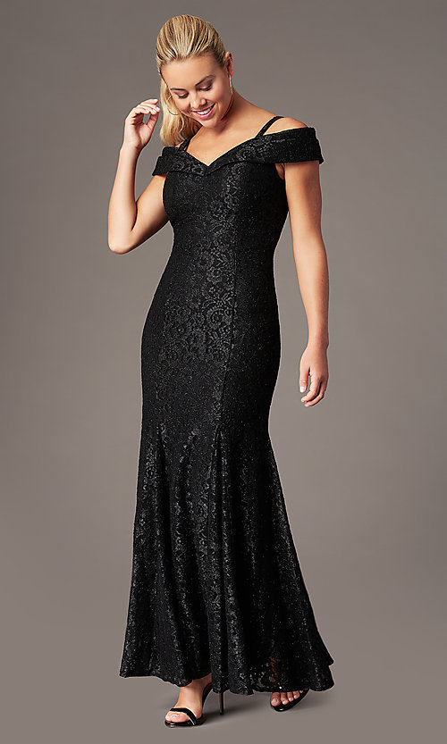 Image of long cold-shoulder mermaid glitter-lace formal dress. Style: MO-2047 Detail Image 3