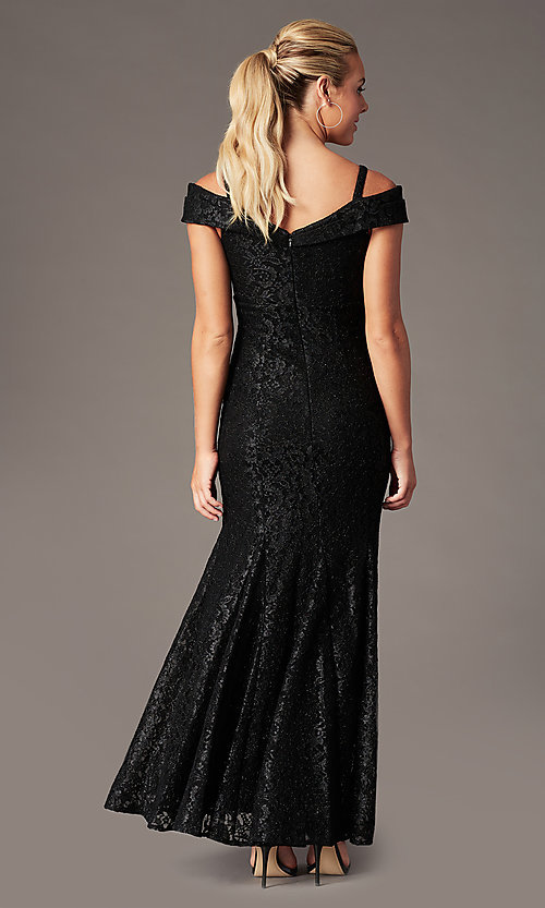Image of long cold-shoulder mermaid glitter-lace formal dress. Style: MO-2047 Detail Image 4