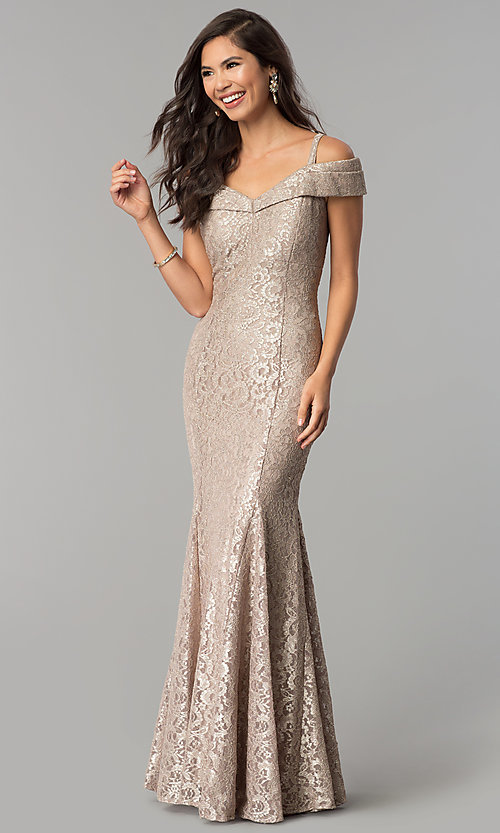 Cold-Shoulder Champagne Gold Long Lace Formal Dress