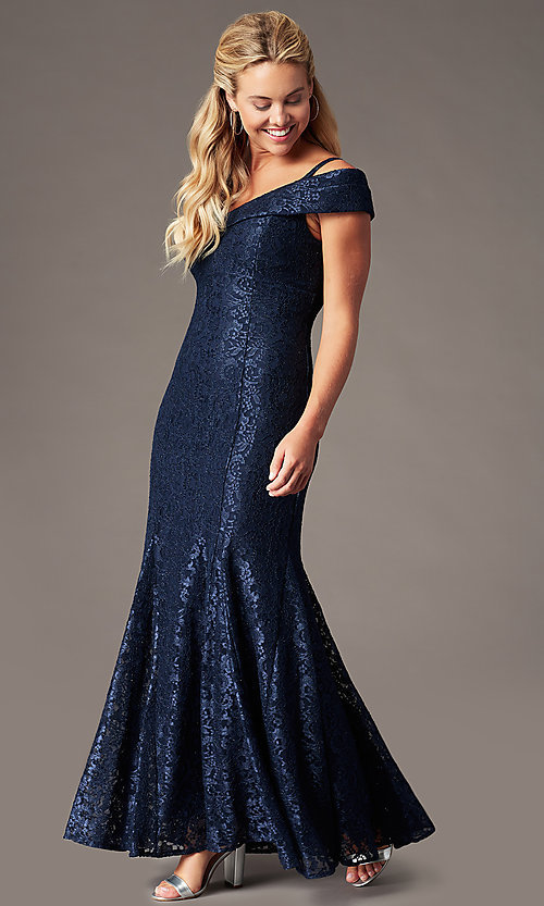 Image of long cold-shoulder mermaid glitter-lace formal dress. Style: MO-2047 Front Image