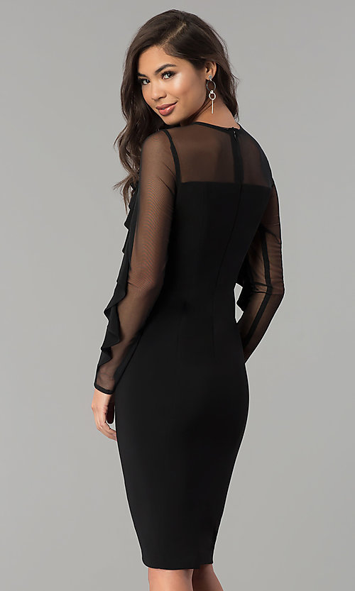 Image Of Knee Length Party Dress With Ruffled Sheer Sleeves Style Mo