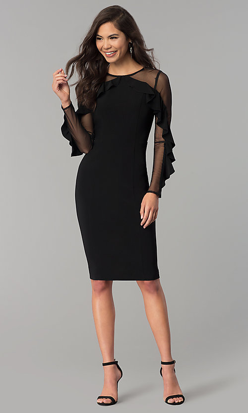 Knee Length Party Dress With Sheer Sleeves And Ruffles