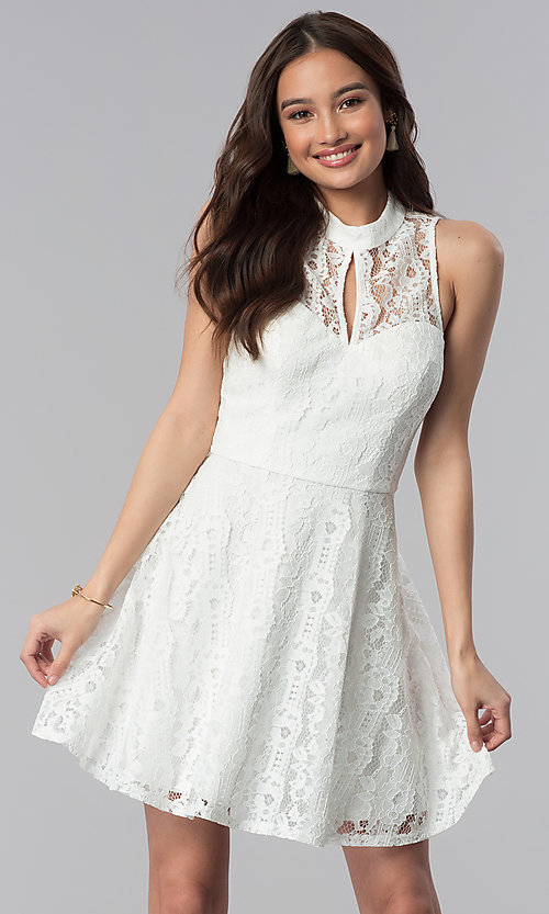 2c6a1224a538 Image of high-neck off white lace graduation party dress. Style  SS-