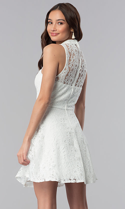c9a01b1b5402 Image of high-neck off white lace graduation party dress. Style  SS-