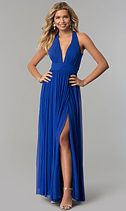 Image of electric cobalt blue open-back long prom dress. Style: FLA-130358 Front Image