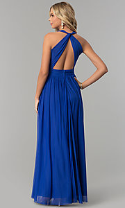 Image of electric cobalt blue open-back long prom dress. Style: FLA-130358 Back Image