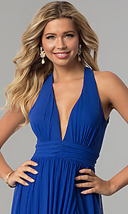 Image of electric cobalt blue open-back long prom dress. Style: FLA-130358 Detail Image 1