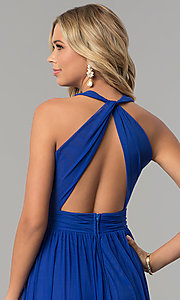 Image of electric cobalt blue open-back long prom dress. Style: FLA-130358 Detail Image 2