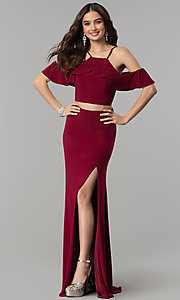 Image of two-piece ruffled-flounce cold-shoulder prom dress. Style: JT-662 Front Image