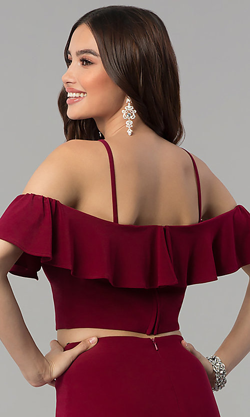 Image of two-piece ruffled-flounce cold-shoulder prom dress. Style: JT-662 Detail Image 2