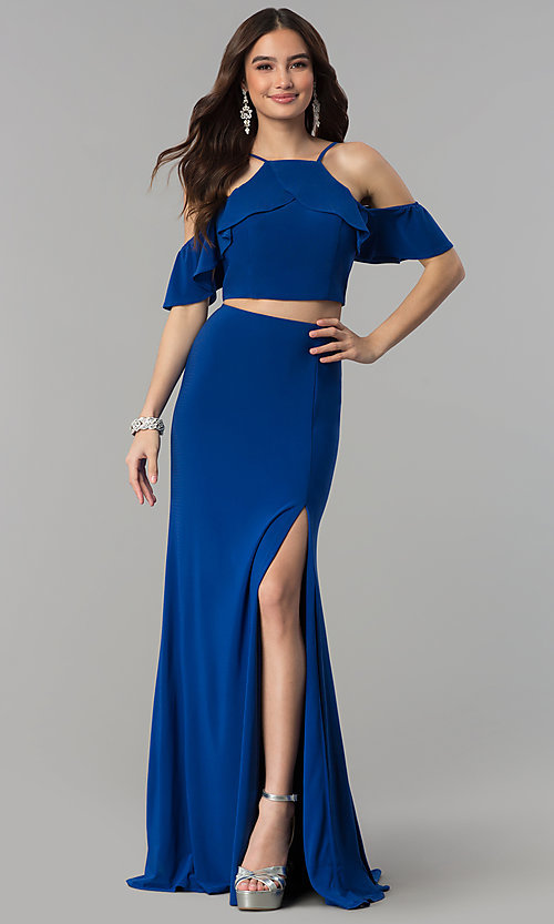 Image of two-piece ruffled-flounce cold-shoulder prom dress. Style: JT-662 Detail Image 3