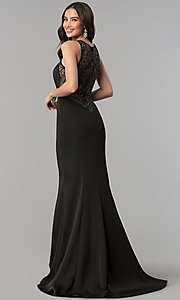 Image of sheer-lace-back long prom dress. Style: JT-665 Front Image