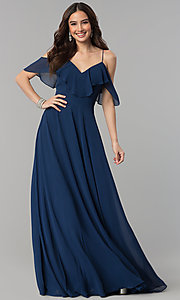 Image of off-the-shoulder flounce long formal dress.  Style: JT-671 Front Image