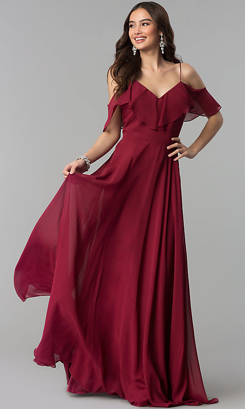 Image of off-the-shoulder flounce long formal dress.  Style: JT-671 Detail Image 2