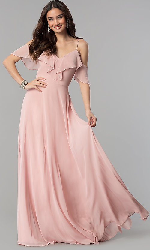Image of off-the-shoulder flounce long formal dress.  Style: JT-671 Detail Image 1