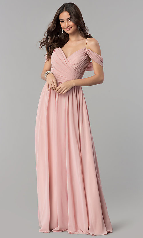 Image of long cold-shoulder a-line chiffon formal dress. Style: JT-676 Front Image