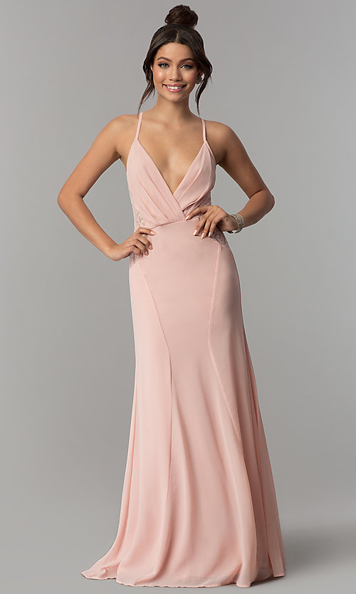 7681a690d0e12 Image of long deep-v-neck formal prom dress in blush pink. Style