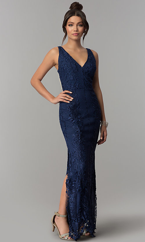 035907a85d Image of navy lace v-neck illusion-back long prom dress. Style