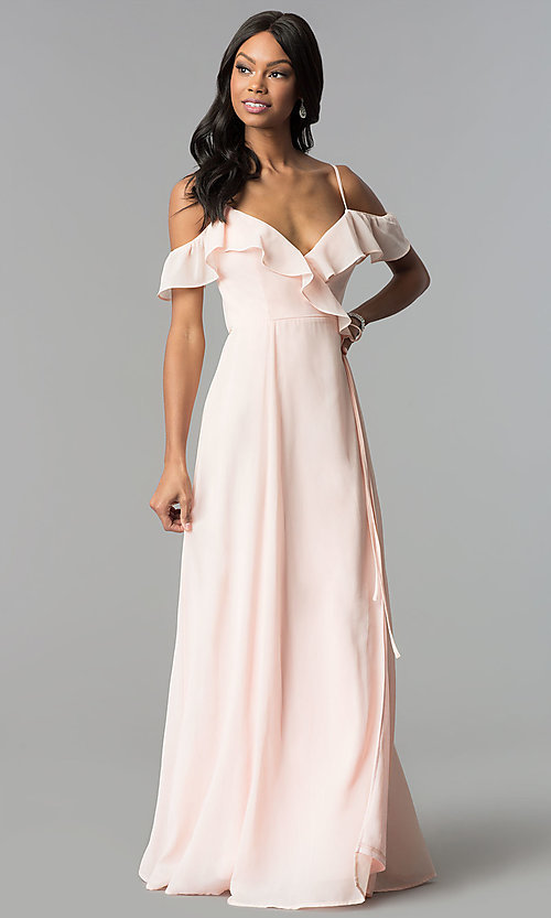 Image of ruffled cold-shoulder long chiffon wrap formal dress. Style: SOI-M17648 Front Image