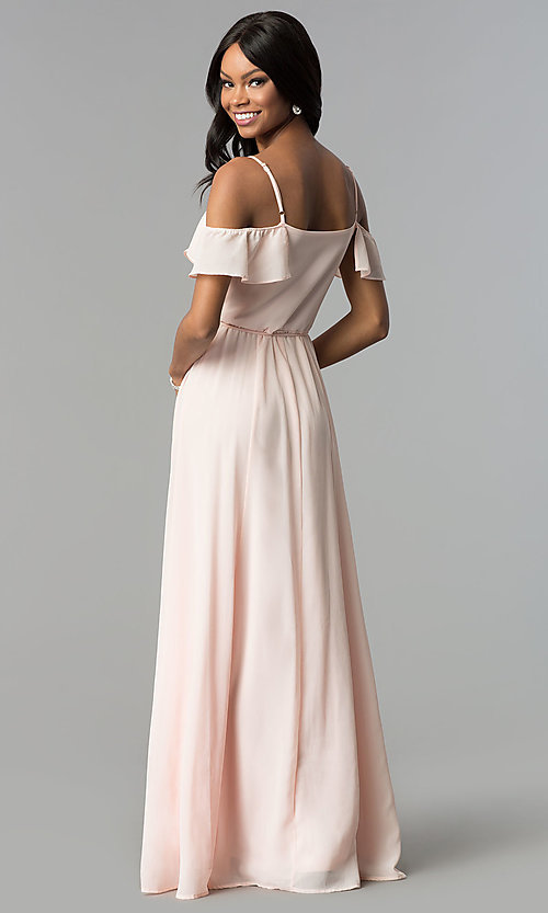 Image of ruffled cold-shoulder long chiffon wrap formal dress. Style: SOI-M17648 Back Image