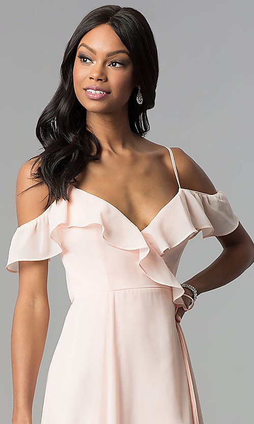 Image of ruffled cold-shoulder long chiffon wrap formal dress. Style: SOI-M17648 Detail Image 1