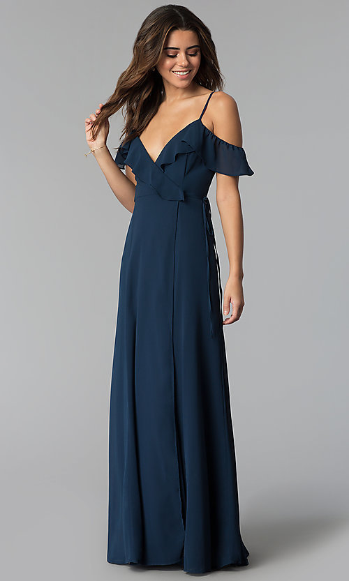 Image of ruffled cold-shoulder long chiffon wrap formal dress. Style: SOI-M17648 Detail Image 3