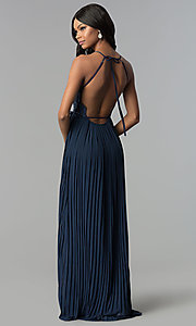 Image of long pleated wrap prom dress with embroidered lace. Style: SOI-M17763 Back Image