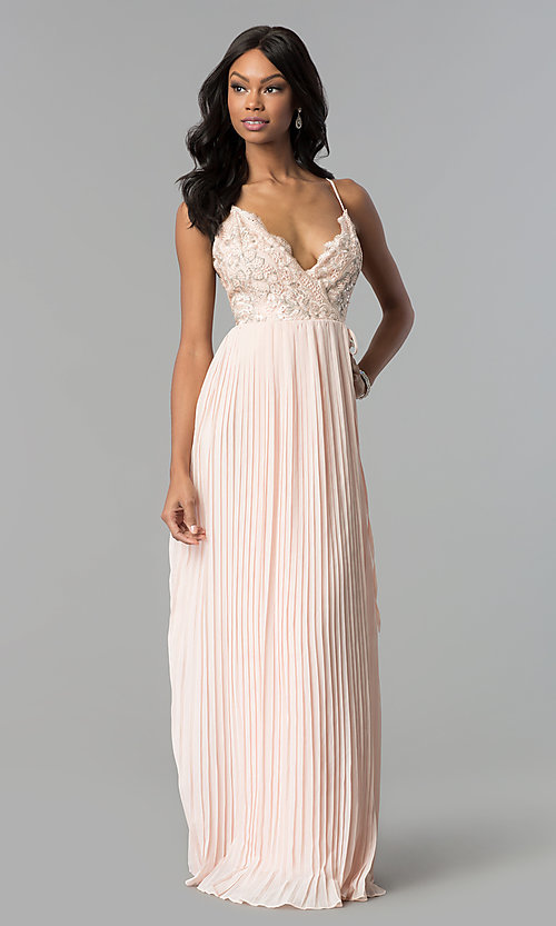 Image of long pleated wrap prom dress with embroidered lace. Style: SOI-M17763 Detail Image 2