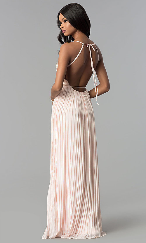 Image of long pleated wrap prom dress with embroidered lace. Style: SOI-M17763 Detail Image 3