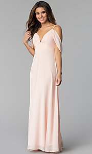 Image of long chiffon prom dress with off-the-shoulder drape. Style: SOI-M17727 Front Image