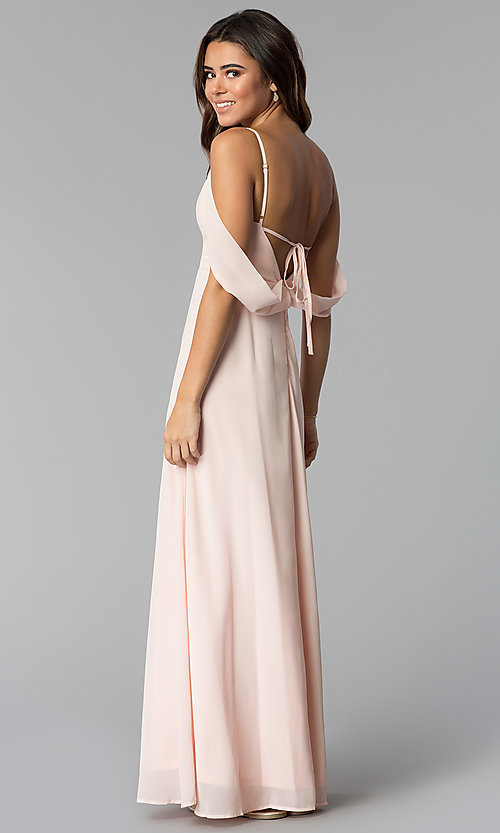 Image of long chiffon prom dress with off-the-shoulder drape. Style: SOI-M17727 Back Image