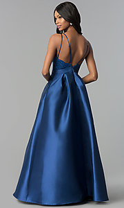 Image of long satin prom dress with embroidered-lace bodice. Style: SOI-M17655 Back Image