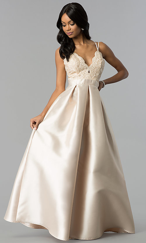 Image of long satin prom dress with embroidered-lace bodice. Style: SOI-M17655 Detail Image 3