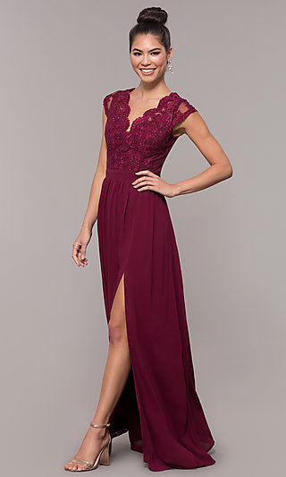 9138e6f45ae8f Red Burgundy Champagne +3. Long Blush Pink V-Neck Lace-Bodice Prom Dress